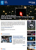 ESO — ALMA and VLT Find Evidence for Stars Forming Just 250 Million Years After Big Bang — Science Release eso1815