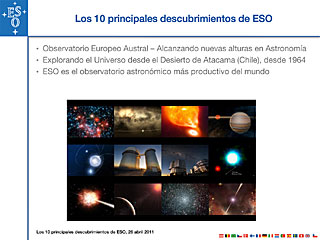 Top 10 Discoveries by ESO Telescopes presentation (Spanish)